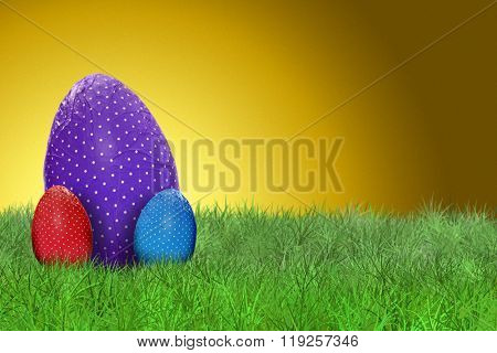 Happy Easter - Easter eggs and golden background