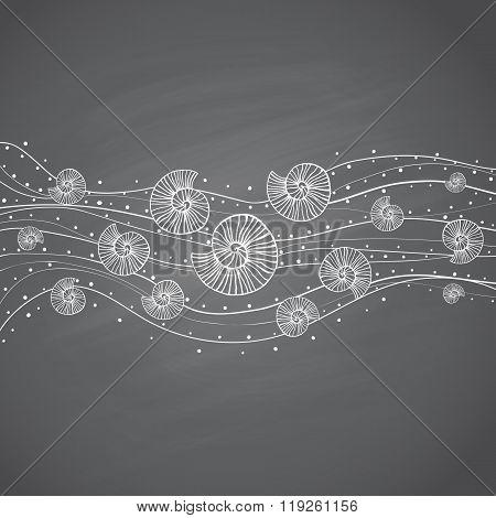 Seashells in waves on chalkboard