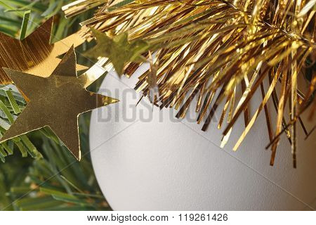 Christmas Decoration Detail With Golden Stars And Ball