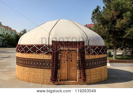 Turkmen Ethnic Nomadic Yurt-building, Built For The Celebration Of Novruz. Decorated In A Traditiona