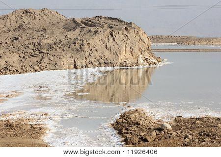 Salt and rocks at Dead Sea, Israel