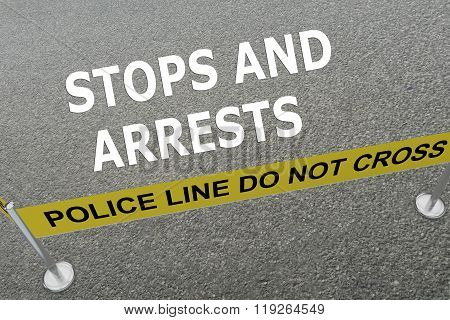Render illustration of Stops and Arrests title on the ground in a police arena poster