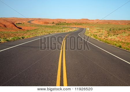 Winding road going into Canyon de Chelly in Arizona USA