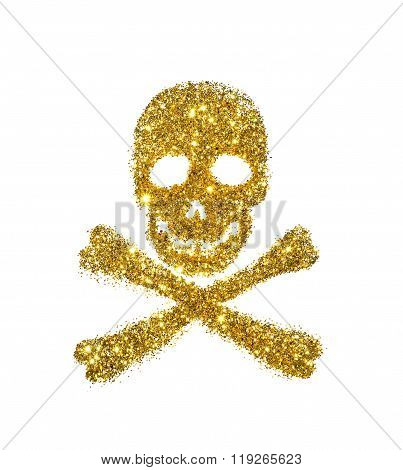 Abstract skull and crossbones of golden glitter on white background