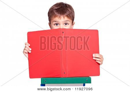 Little ecstatic kid peeking over his file folder while studying