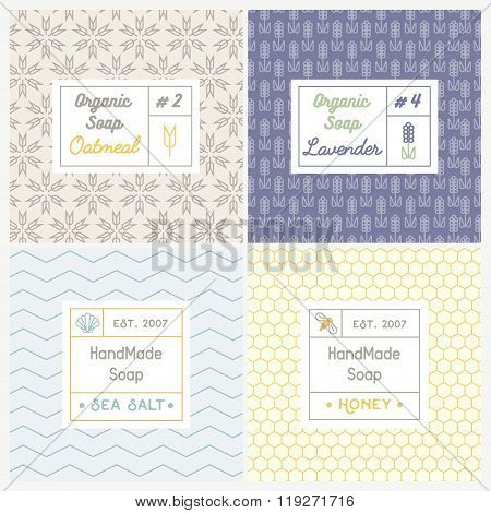 Linear design templates for most popular soap recipes: milk and honey oat lavender and sea salt. With their symbols: shell bee wheat and ear.