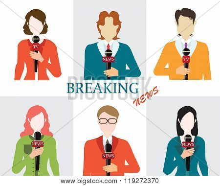 Journalism male and female reporters holding microphones Live news template Live broadcast world news conceptual vector illustration. poster