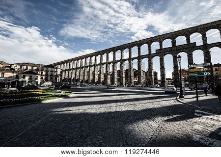 Segovia, Spain - May 6: The Roman Aqueduct Of Segovia And The Square Of The Azoguejo, In Segovia, Sp