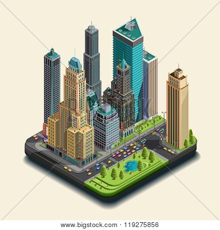 Isometric city 3d skyscraper district part of icons