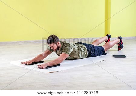 Exercising with friction pads.