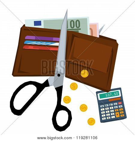 Scissors cutting purse with money