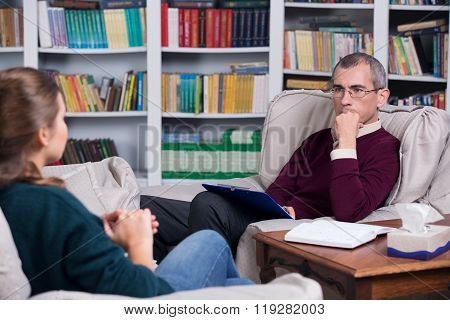 Psychiatrist and woman patient
