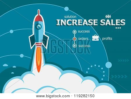 Increase Sales Design And Concept Background With Rocket.