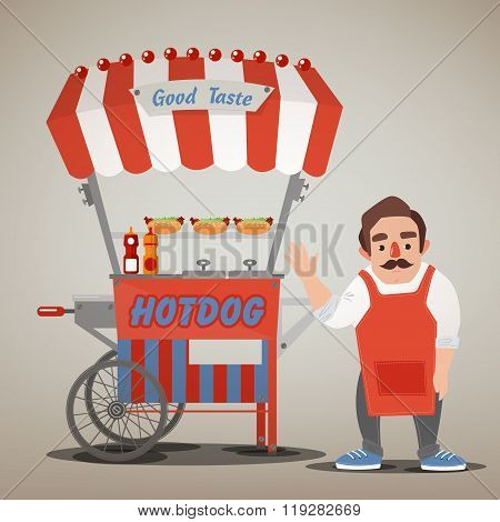 Street Food Concept With Hot Dog Cart And Seller