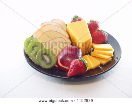 Tray Of Cheese And Fruit