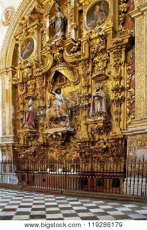 Gilt altar inside Granada Cathedral.