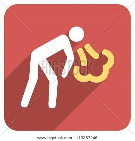 Vomiting Person Flat Rounded Square Icon with Long Shadow