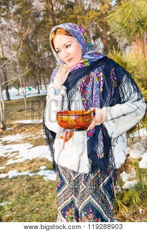 Portrait Of Young Caucasian Woman In Traditional Russian Pavloposadskie  Folk Scarf On Head. Russian