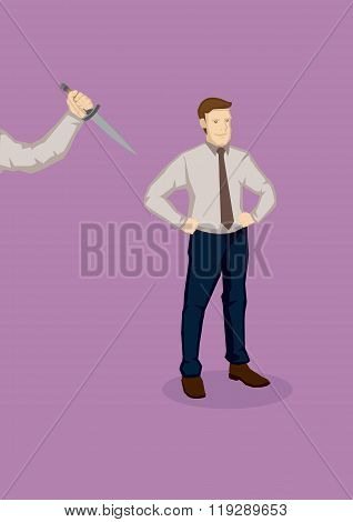Backstabbing Metaphor Cartoon Vector Illustration