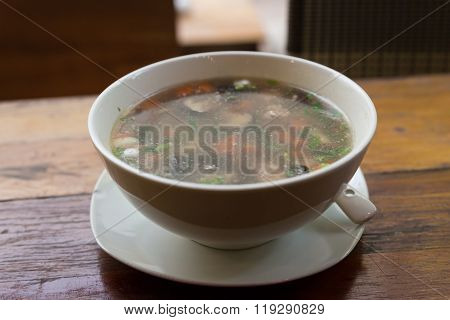 Rice Congee Mixed With Pork, Mushroom
