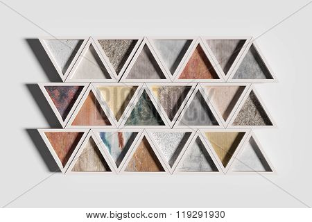 Triangles Of Different Materials In White Frames