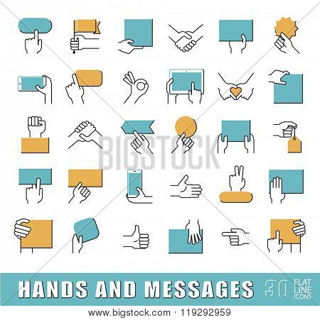 Hands holding messages. Hand gestures. Collection of hands holding blank paper brochure, tablet, mobile phone and various signs. Premium quality outline symbol collection. Flat line icons set.