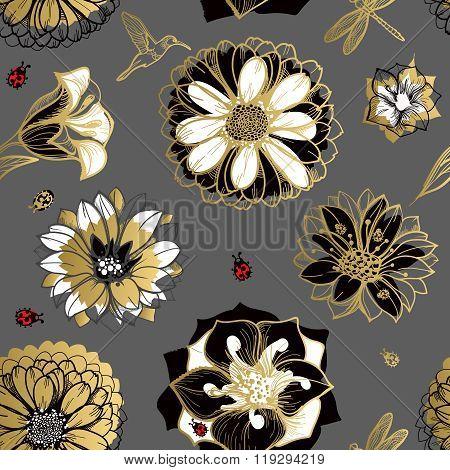 Seamless pattern flowers butterflies dark background.