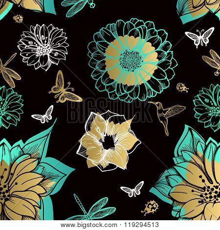 Seamless pattern flowers butterflies hummingbirds black background.