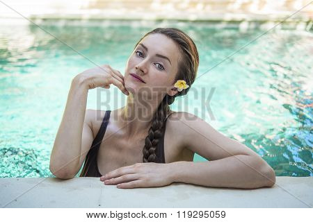 Beautiful Woman In Swimming Pool