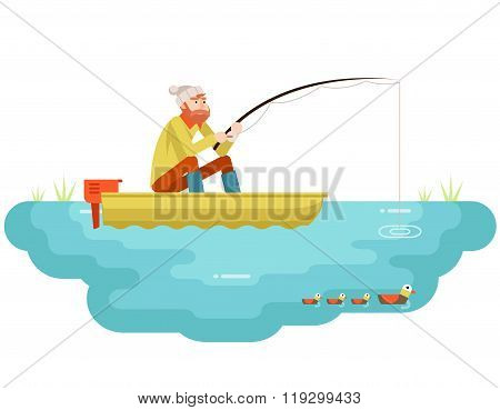 Lake fishing Adult Fisherman with Fishing Rod Boat Birds Isolated Concept Character Icon Flat Design