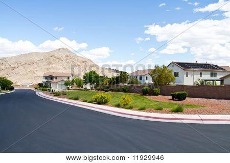 Southwest style homes in Las Vegas neighborhood