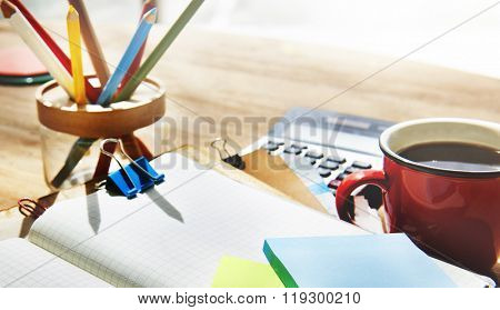Desk Note Cluttered Objects Office Working Station Concept