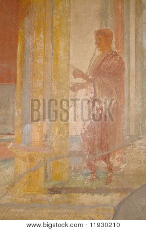 Ancient Fresco from the walls of the Pompeii, Italy ruins.