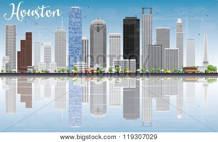 Houston Skyline with Gray Buildings, Blue Sky and Reflections. Vector Illustration. Business Travel and Tourism Concept with Modern Buildings. Image for Presentation Banner Placard and Web Site.
