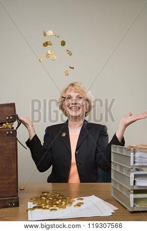 Businesswoman throwing money