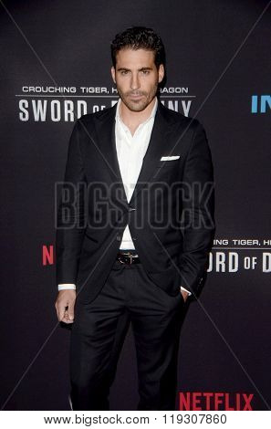LOS ANGELES - FEB 22:  Miguel Angel Silvestre at the Crouching Tiger  Hidden Dragon - Sword of Destiny Premiere at the AMC Universal Citywalk on February 22, 2016 in Universal City, CA