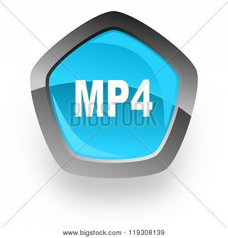 mp4 blue metallic chrome web pentagon glossy icon