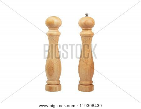 Wooden Pepperbox Mill And Saltcellar