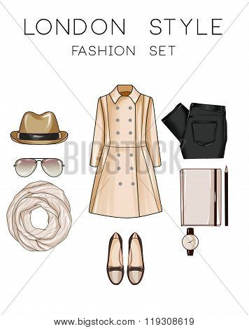 Fashion set of woman's clothes and accessories - Panama hat, loafers, jeans, moleskine, sunglasses,