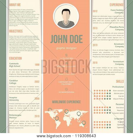 Green Orange White Striped Resume Design
