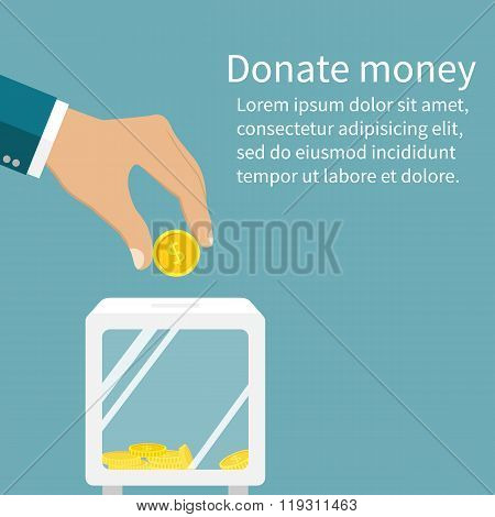 Man Throws Gold Coin In A Box For Donations. Coin In Hand. Donation Box. Donate, Giving Money.