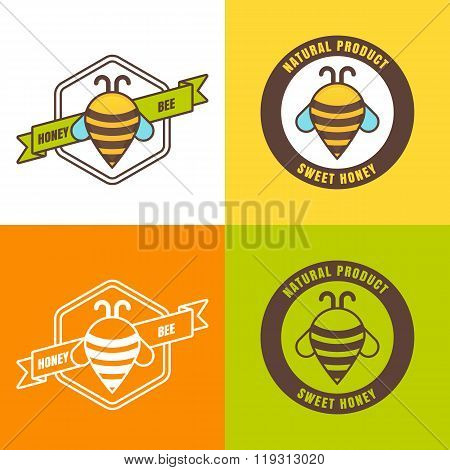 Set Of Honey Logo, Label, Icon Design Elements.