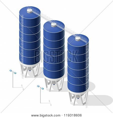 Grain silo, isometric blue building infographic on white background.