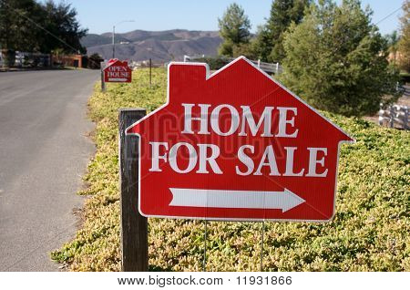 Home For Sale Sign along a rural street.