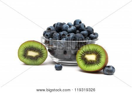 Blueberries And Kiwi On A White Background