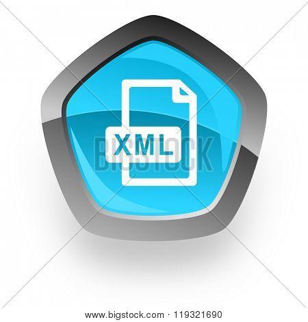 xml file blue metallic chrome web pentagon glossy icon