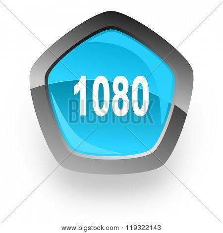1080 blue metallic chrome web pentagon glossy icon