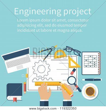 Engineer Working On Blueprint. Engineering Drawing, Technical Scheme.