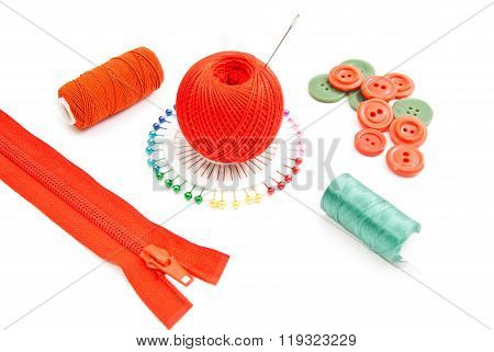 Zipper, Spools Of Thread, Pins And Plastic Buttons