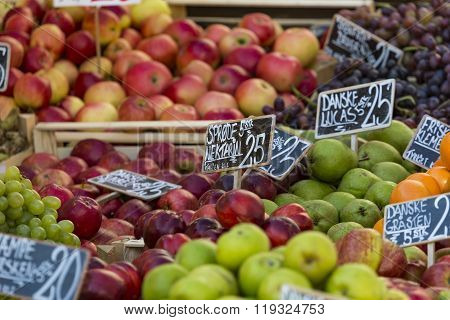 Green And Red Apples In Local Market In Copenhagen,denmark.